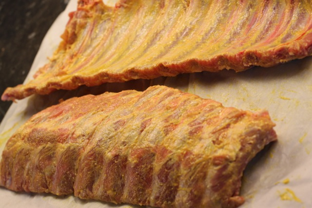 Cover ribs in mustard