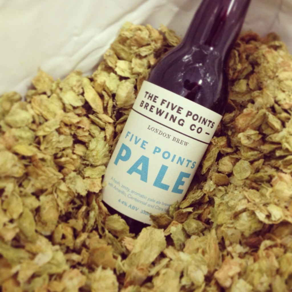 Five Points Pale bottle in hops