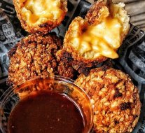 Flick to chapter 1 of The Good Book 'Little Plates' and be sure to order mac-n-cheese balls.  Don't forget to dunk in our housemade Pickleback BBQ sauce.  Photoprops to our brother from another mother @toms_big_eats