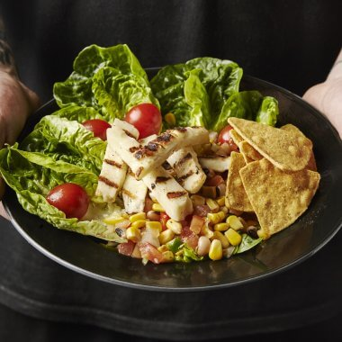 Texas Caviar Bean and Halloumi Salad