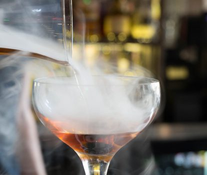 Bourbon cask-smoked manhattan