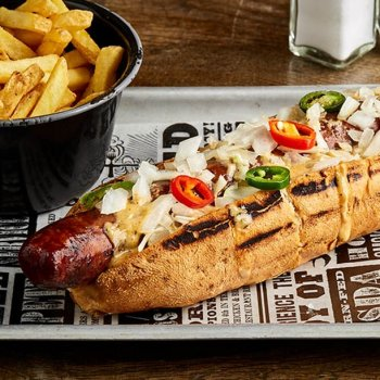 Our Pit Dog is so huge, it won't even fit in an Instagram photo 🌭 Grab it (and fries) for only 7.50 as part of our Express Lunch menu. Monday – Friday, 12pm – 4pm. Amen.